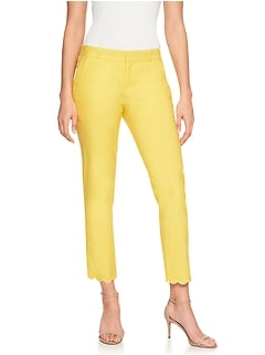 Avery Pique Scallop Hem Tailored Ankle Pant