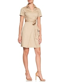 Belted Overlapping Pleat Dress