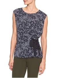 Sleeveless Print Crepe Side Tie Top