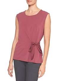 Sleeveless Crepe Side Tie Top