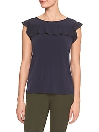 Sleeveless Matte Jersey Flutter Yoke Top