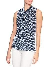 Print Tie-Neck Bib Top