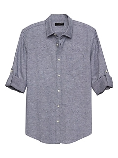 Slim-Fit Floral Print Linen Blend Shirt