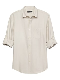 Slim-Fit White Linen Blend Shirt