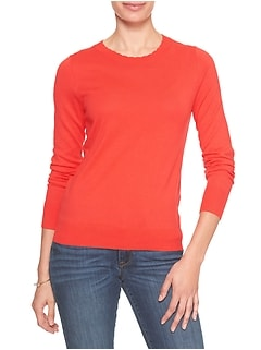 Machine Washable Forever Scalloped Neck Pullover Sweater