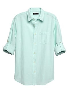 Standard-Fit Teal Linen Blend Shirt