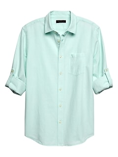 Slim-Fit Teal Linen Blend Shirt