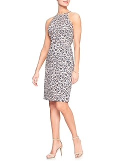 Print Halter Sheath Dress