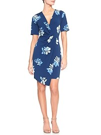 Print Side Knot Faux Wrap Dress