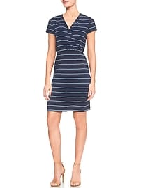 Stripe Faux Wrap Dress