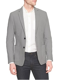 Slim-Fit Stretch Seersucker Blazer
