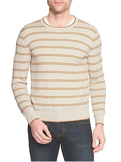 Stripe Tipped Crew Neck Pullover Sweater