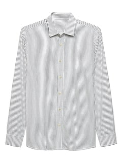 Slim-Fit Navy White Stripe Shirt