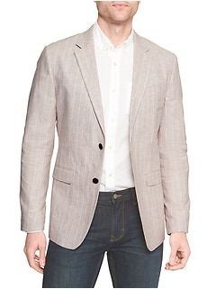 Standard-Fit Taupe Linen Blend Glen Plaid Blazer