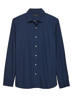 Slim-Fit Indigo Micro Dot Shirt