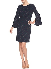 Print 3/4 Bell-Sleeve Shift Dress