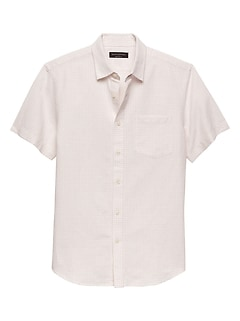 Slim-Fit Print Linen Blend Shirt