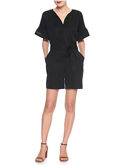 Split Neck Ruffle-Sleeve Romper