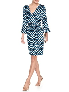 Print Fluted-Sleeve Shift Dress
