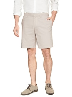 Aiden Club Fit Stretch Mini Gingham Khaki Short
