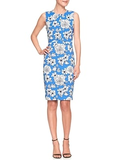 Print Pleat Neck Sheath Dress