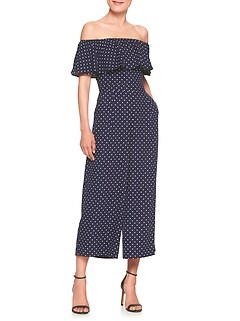 Print Off-Shoulder Culotte Jumper