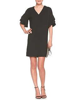 Flounce-Sleeve Shift Dress