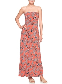 Print Tube Top Maxi Dress