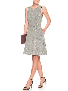 Geo Jacquard Fit and Flare Dress