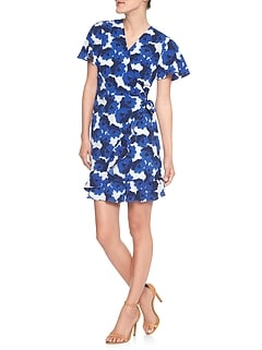 Print Ruffle Wrap Dress