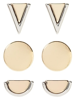 Mix Metal Stud Earrings (set of 3)