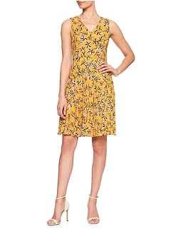 Print Pleat Fit and Flare Dress