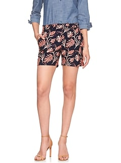 Tailored Floral Print Pique Short