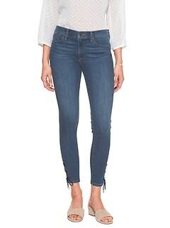 Medium Wash Side Tie Hem Skinny Crop Jean