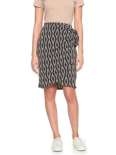 Print Knot Wrap Pencil Skirt