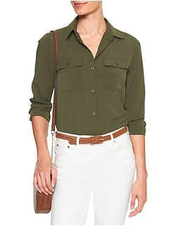 Double-Pocket Drapey Classic Shirt