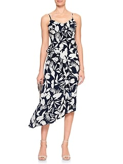 Print Asymmetrical Midi Dress