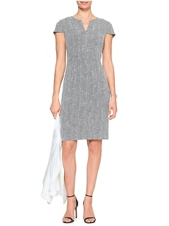 Split Neck Boucle Sheath Dress
