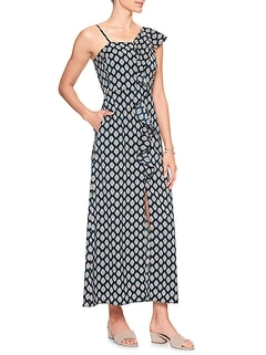 Print Flounce Maxi Dress