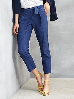 Avery Tie-Waist Rope Stripe Chambray Pant
