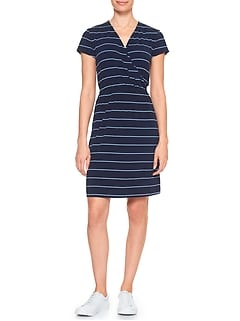 Petite Stripe Faux Wrap Dress
