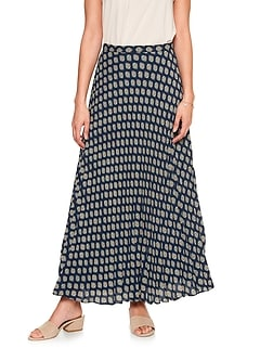 Accordion Pleated Geo Print Maxi Skirt