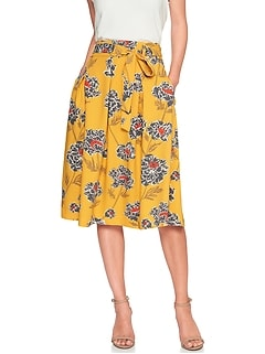 Petite Tie-Waist Pleated Midi Skirt