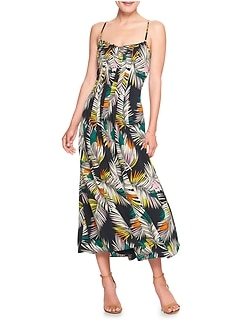 Print Strappy Pintuck Maxi Dress