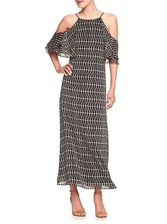 Print Cold Shoulder Maxi Dress