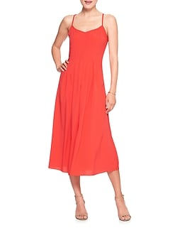 Petite Strappy Pintuck Maxi Dress