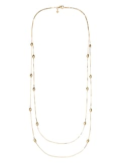 Drop Metal Double Chain Necklace