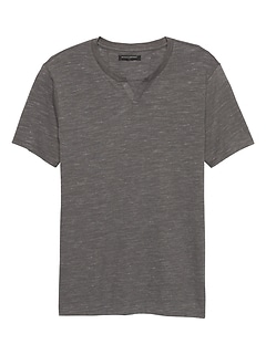 Textured Notch T Shirt