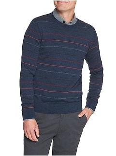 Stripe Merino Wool Pullover Sweater