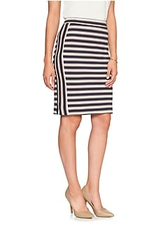 Petite Stripe Pencil Skirt